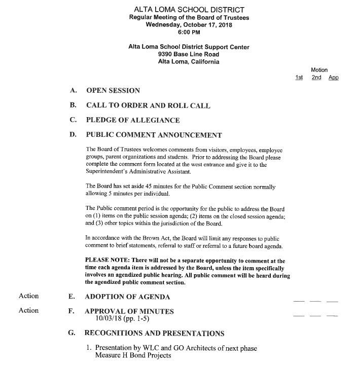 Current Board Agenda Link
