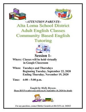 Adult English Classes - Community Based English Tutoring